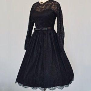 🆕Vintage L'aiglon Black Lace Cocktail Party Dress